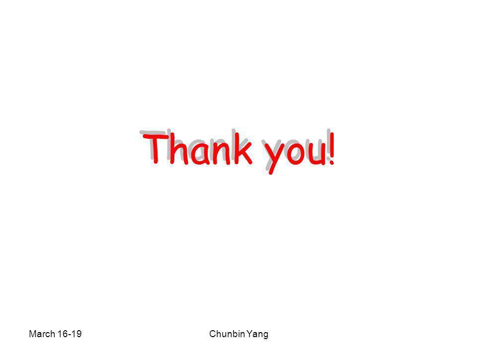 March 16-19Chunbin Yang Thank you!