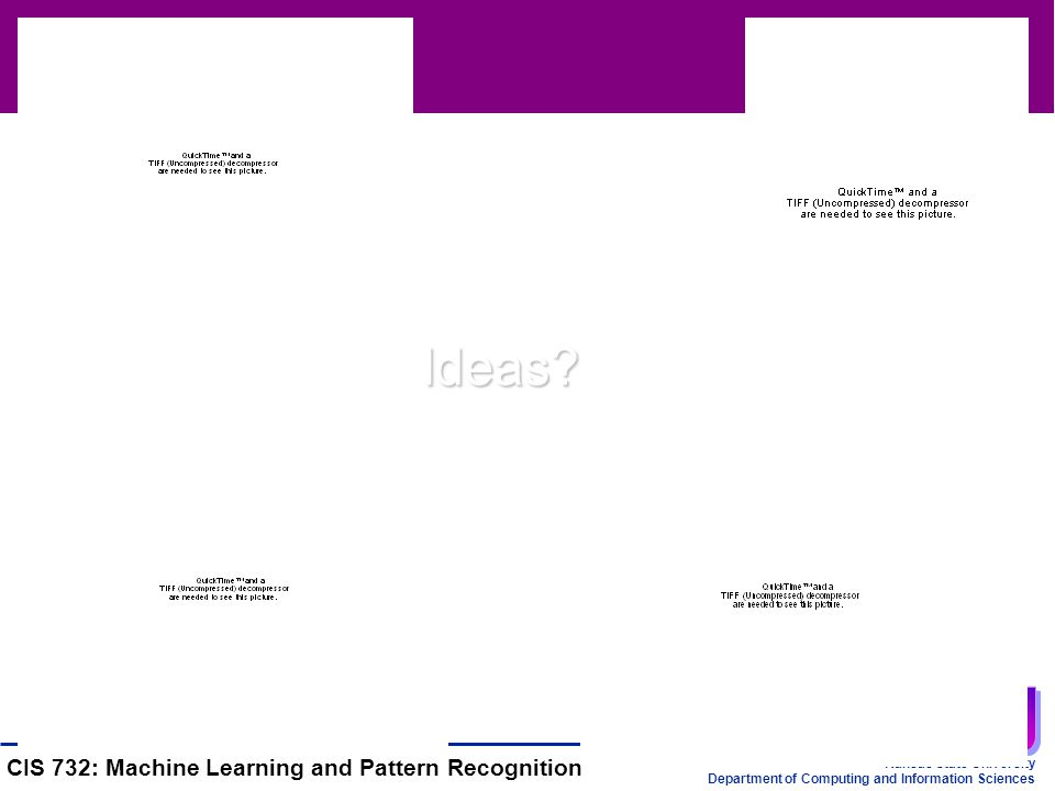 Kansas State University Department of Computing and Information Sciences CIS 732: Machine Learning and Pattern Recognition Ideas