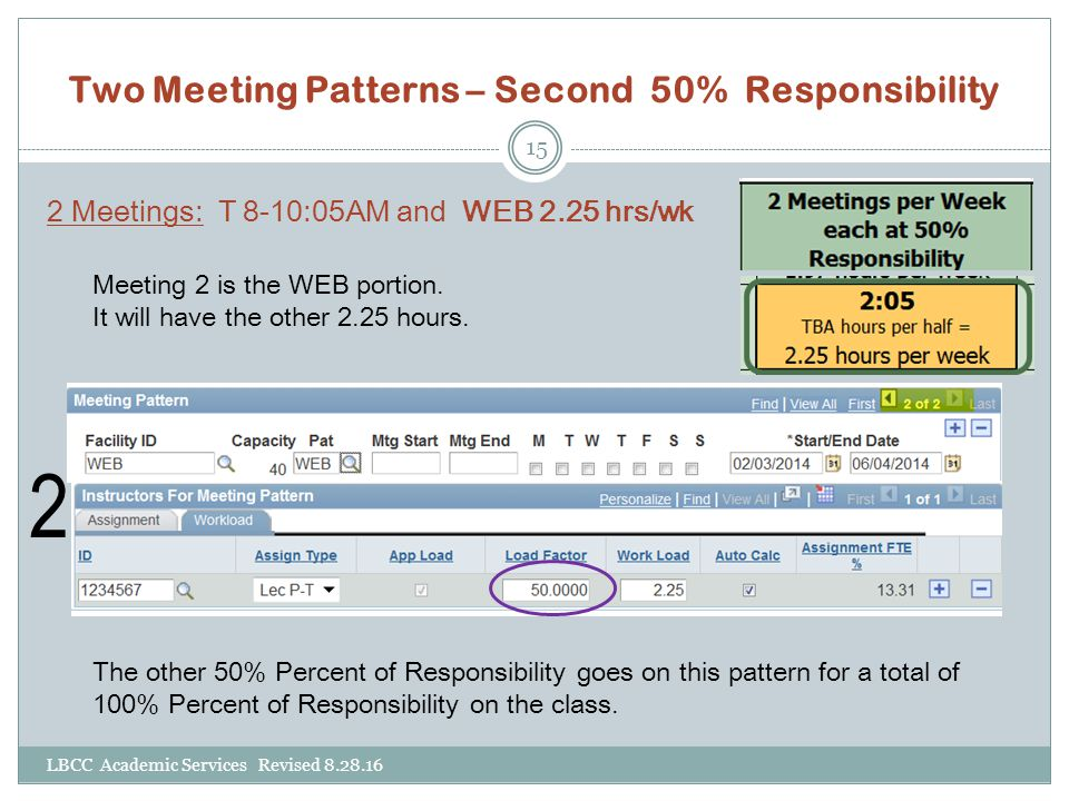 Two Meeting Patterns – Second 50% Responsibility 2 Meetings: T 8-10:05AM and WEB 2.25 hrs/wk 2 Meeting 2 is the WEB portion. It will have the other 2.