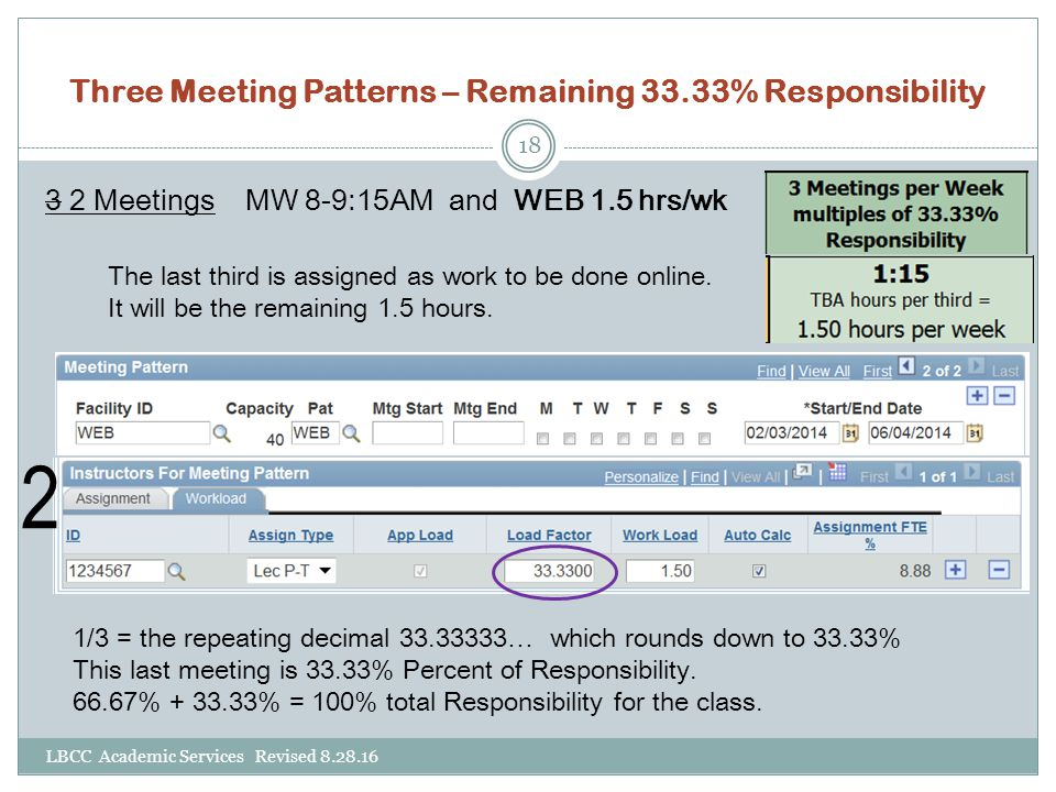 Three Meeting Patterns – Remaining 33.33% Responsibility 3 2 Meetings MW 8-9:15AM and WEB 1.5 hrs/wk The last third is assigned as work to be done online.