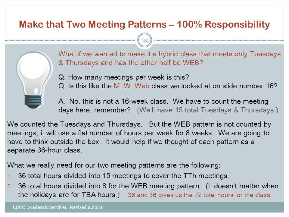 Make that Two Meeting Patterns – 100% Responsibility LBCC Academic Services Revised 8.28.16 39 We counted the Tuesdays and Thursdays.