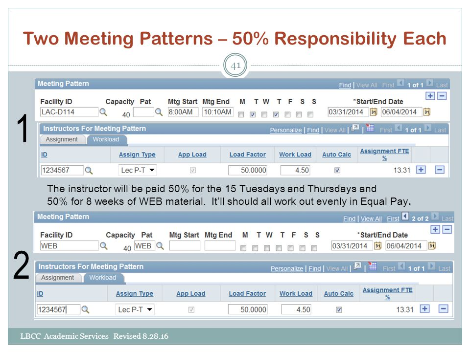 Two Meeting Patterns – 50% Responsibility Each LBCC Academic Services Revised 8.28.16 41 1 2 The instructor will be paid 50% for the 15 Tuesdays and T