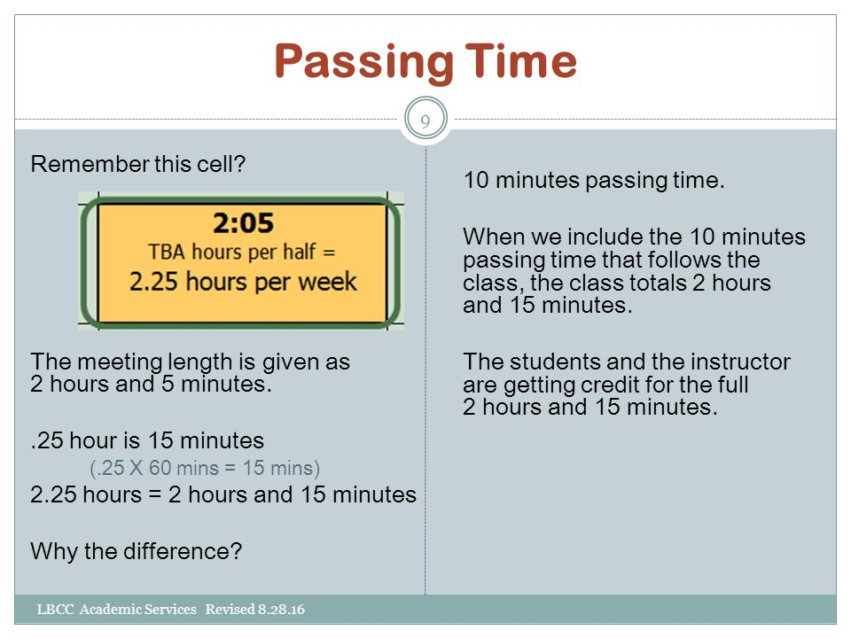 Passing Time Remember this cell? The meeting length is given as 2 hours and 5 minutes..25 hour is 15 minutes (.25 X 60 mins = 15 mins) 2.25 hours = 2