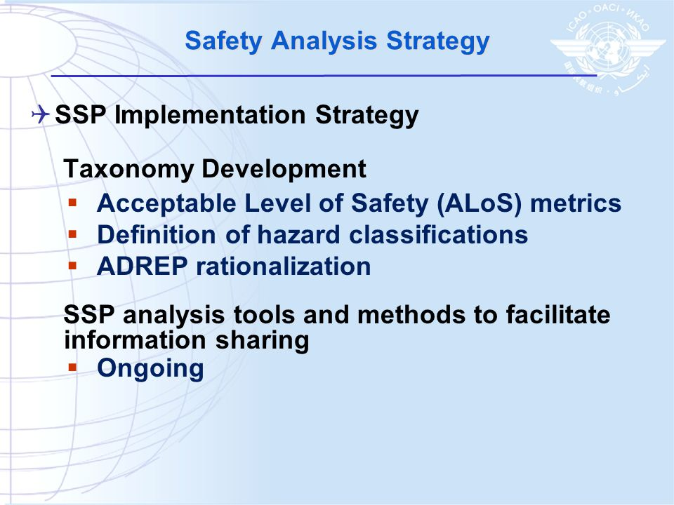  SSP Implementation Strategy Taxonomy Development  Acceptable Level of Safety (ALoS) metrics  Definition of hazard classifications  ADREP rationalization SSP analysis tools and methods to facilitate information sharing  Ongoing