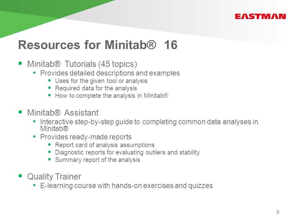 Minitab® tutorials 9