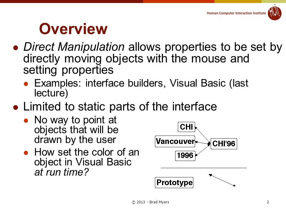 Overview Direct Manipulation allows properties to be set by directly moving objects with the mouse and setting properties Examples: interface builders, Visual Basic (last lecture) Limited to static parts of the interface No way to point at objects that will be drawn by the user How set the color of an object in Visual Basic at run time.