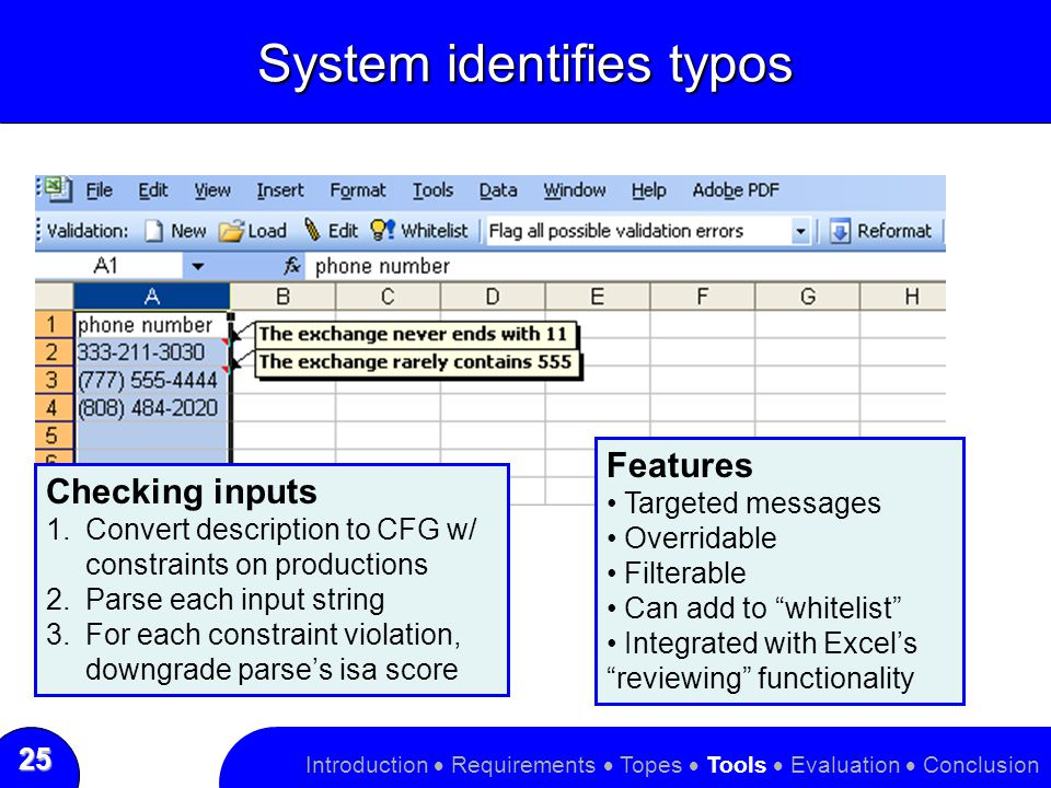 25 System identifies typos Introduction  Requirements  Topes  Tools  Evaluation  Conclusion Features Targeted messages Overridable Filterable Can add to whitelist Integrated with Excel's reviewing functionality Checking inputs 1.Convert description to CFG w/ constraints on productions 2.Parse each input string 3.For each constraint violation, downgrade parse's isa score