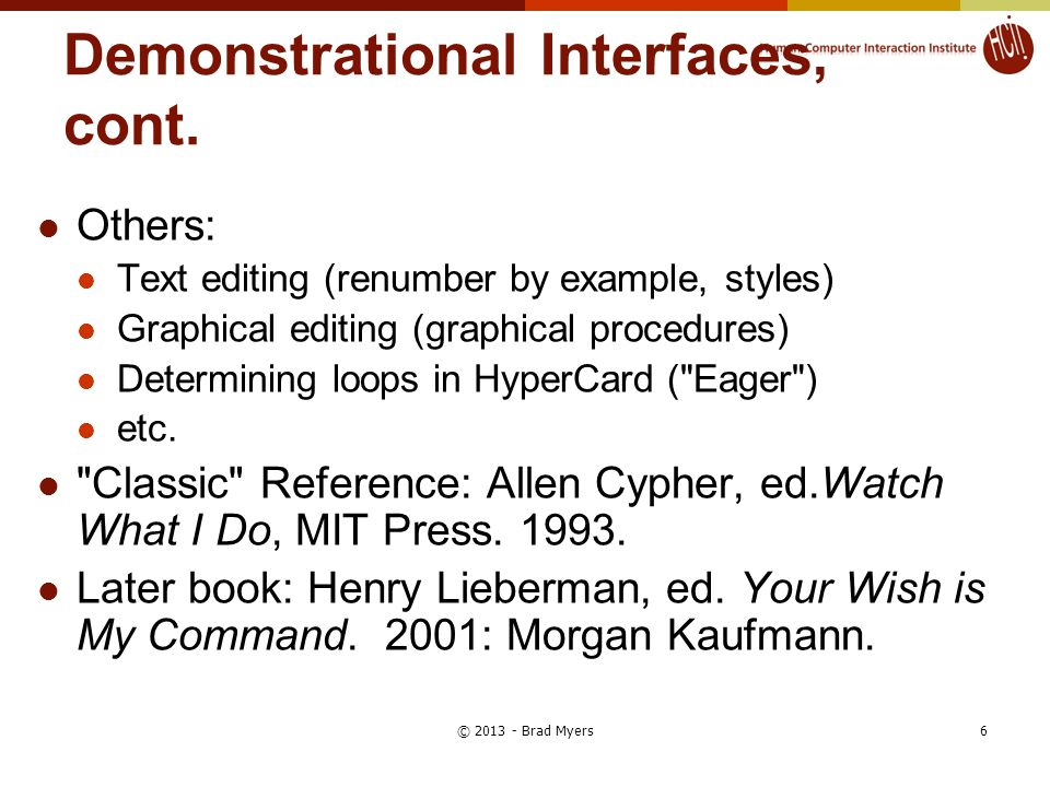 Demonstrational Interfaces, cont.