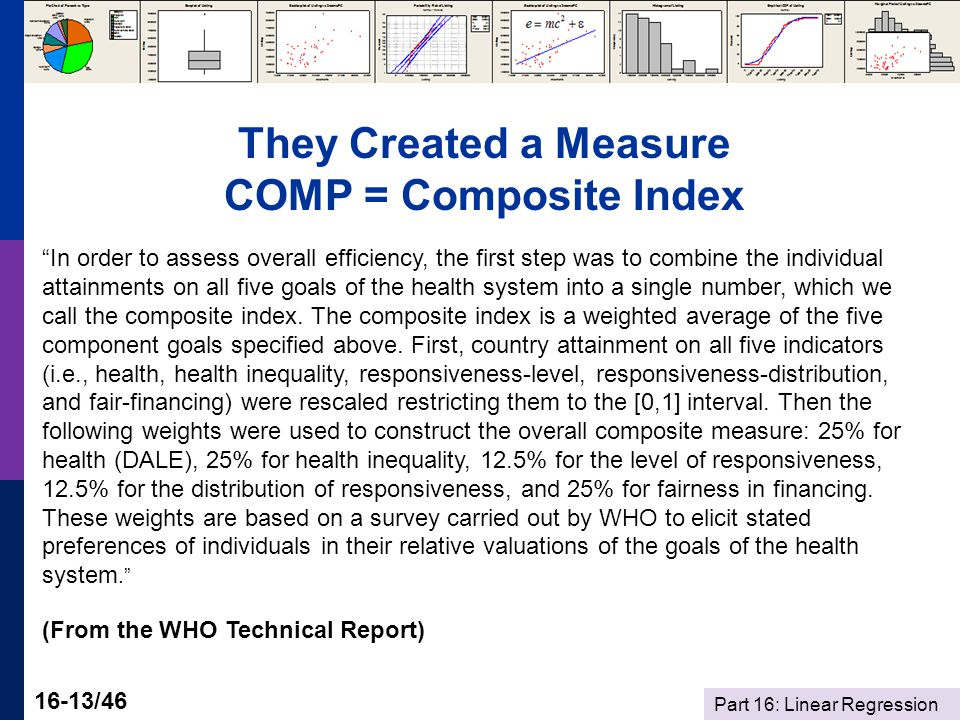 Part 16: Linear Regression 16-13/46 They Created a Measure COMP = Composite Index In order to assess overall efficiency, the first step was to combine the individual attainments on all five goals of the health system into a single number, which we call the composite index.