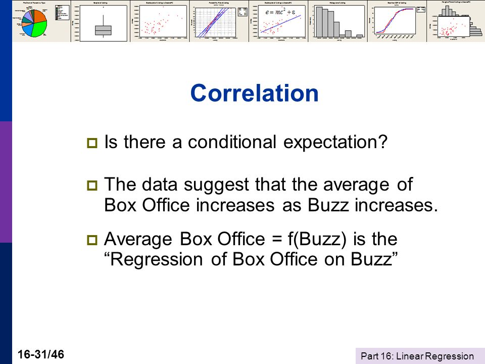 Part 16: Linear Regression 16-31/46 Correlation  Is there a conditional expectation.
