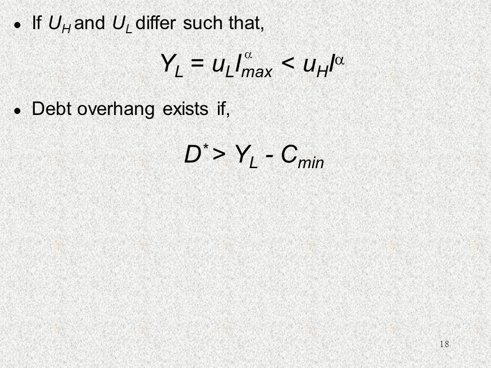 18 l Debt overhang exists if, D * > Y L - C min l If U H and U L differ such that, Y L = u L I max < u H I  