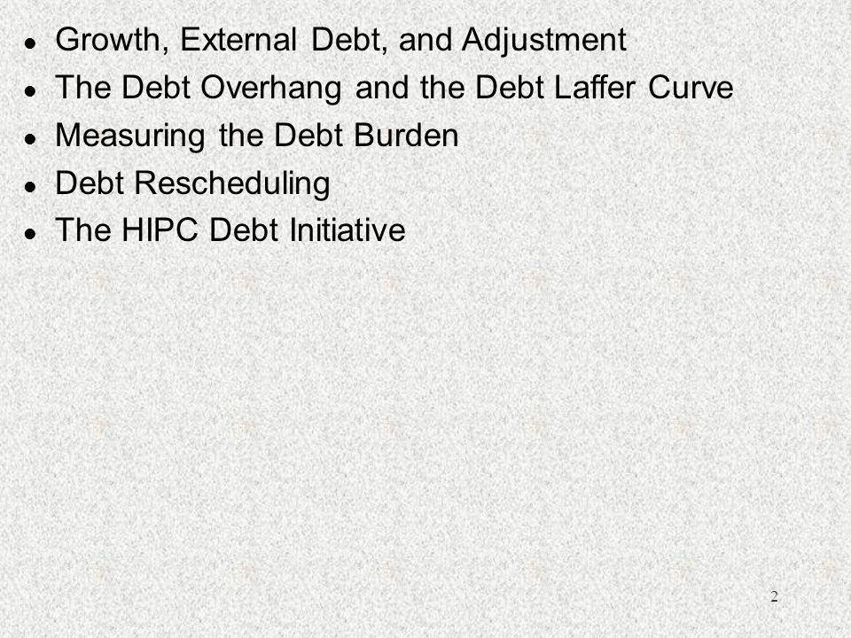 2 l Growth, External Debt, and Adjustment l The Debt Overhang and the Debt Laffer Curve l Measuring the Debt Burden l Debt Rescheduling l The HIPC Debt Initiative