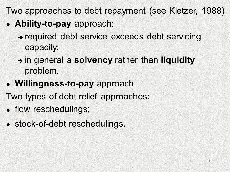 44 Two approaches to debt repayment (see Kletzer, 1988) l Ability-to-pay approach: è required debt service exceeds debt servicing capacity; è in general a solvency rather than liquidity problem.