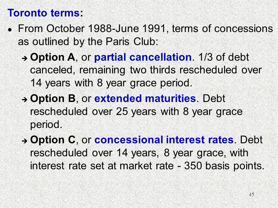 45 Toronto terms: l From October 1988-June 1991, terms of concessions as outlined by the Paris Club: è Option A, or partial cancellation.