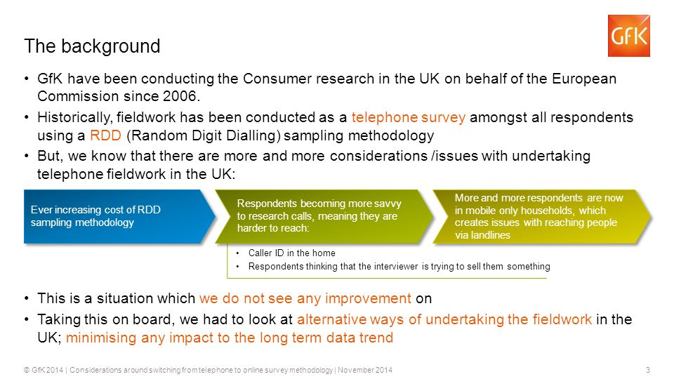 3© GfK 2014 | Considerations around switching from telephone to online survey methodology | November 2014 GfK have been conducting the Consumer research in the UK on behalf of the European Commission since 2006.