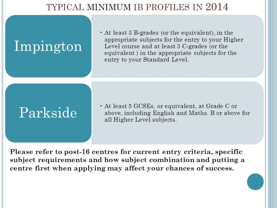 TYPICAL MINIMUM IB PROFILES IN 2014 At least 3 B-grades (or the equivalent), in the appropriate subjects for the entry to your Higher Level course and