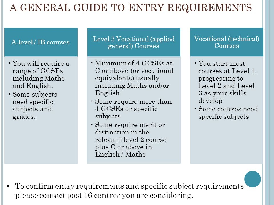 A GENERAL GUIDE TO ENTRY REQUIREMENTS A-level / IB courses You will require a range of GCSEs including Maths and English. Some subjects need specific