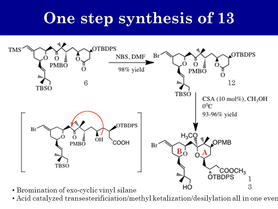 One step synthesis of 13 Bromination of exo-cyclic vinyl silane Acid catalyzed transesterificiation/methyl ketalization/desilylation all in one event