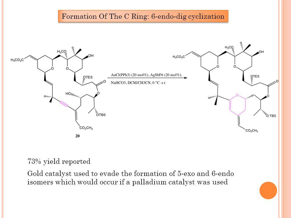 Formation Of The C Ring: 6-endo-dig cyclization Gold catalyst used to evade the formation of 5-exo and 6-endo isomers which would occur if a palladium