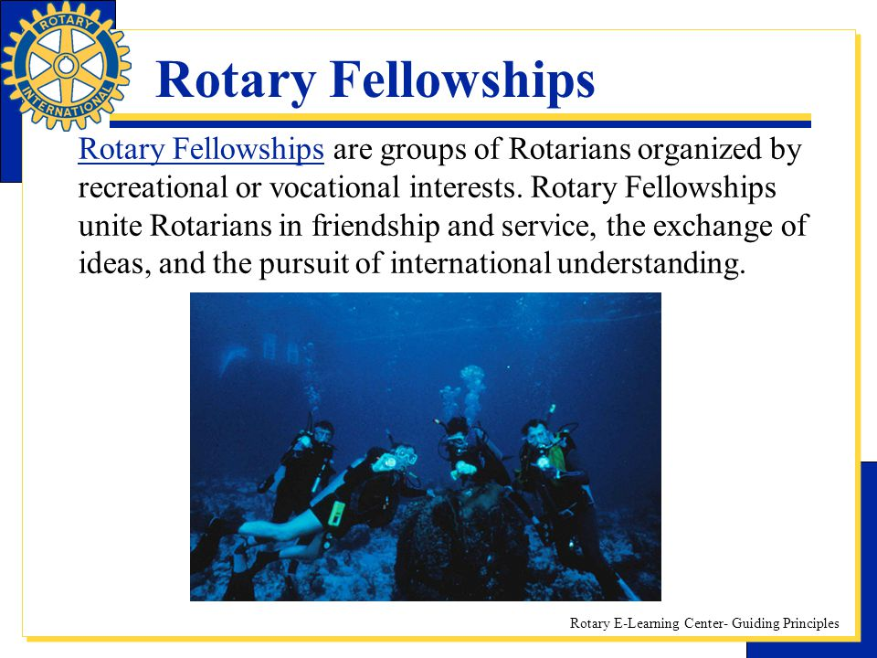 Rotary E-Learning Center- Guiding Principles Rotary Fellowships Rotary Fellowships are groups of Rotarians organized by recreational or vocational int