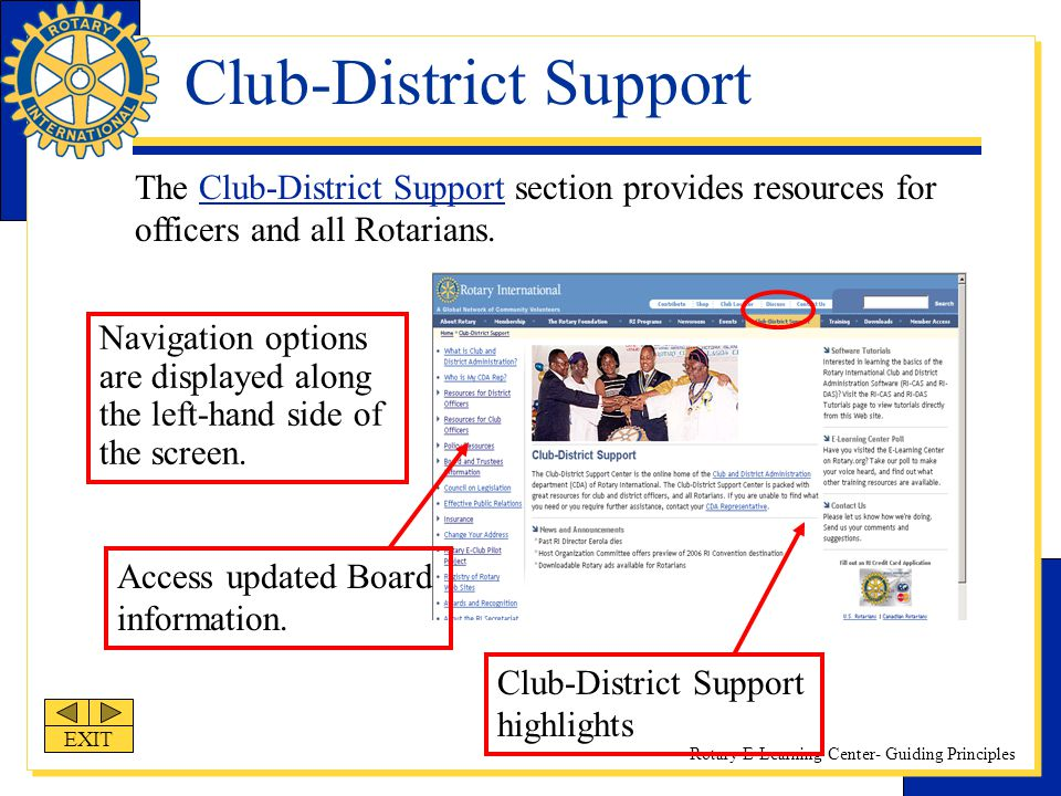 Rotary E-Learning Center- Guiding Principles Club-District Support Navigation options are displayed along the left-hand side of the screen. Access upd