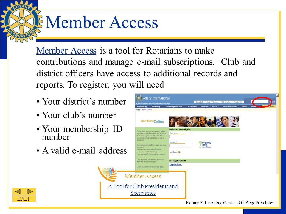 Rotary E-Learning Center- Guiding Principles Member Access Member Access is a tool for Rotarians to make contributions and manage e-mail subscriptions