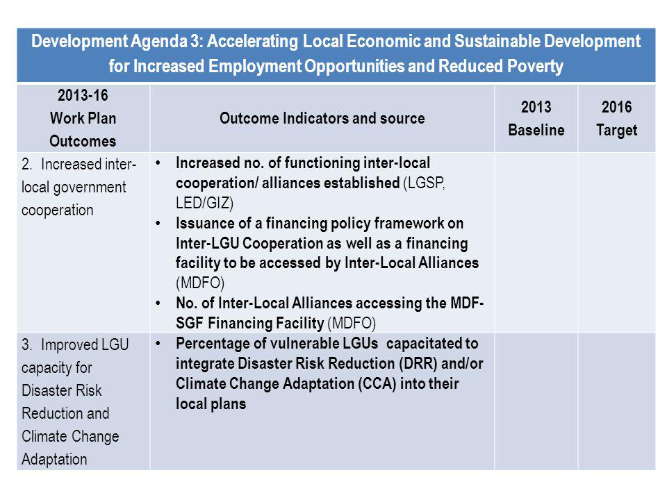 Development Agenda 3: Accelerating Local Economic and Sustainable Development for Increased Employment Opportunities and Reduced Poverty 2013-16 Work