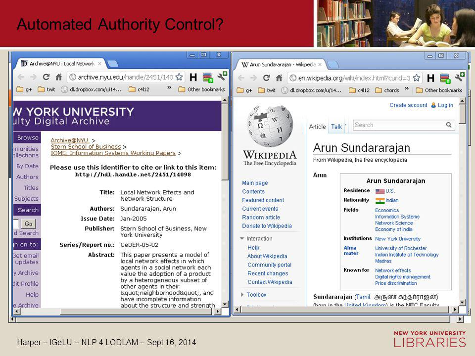 Harper – IGeLU – NLP 4 LODLAM – Sept 16, 2014 Automated Authority Control