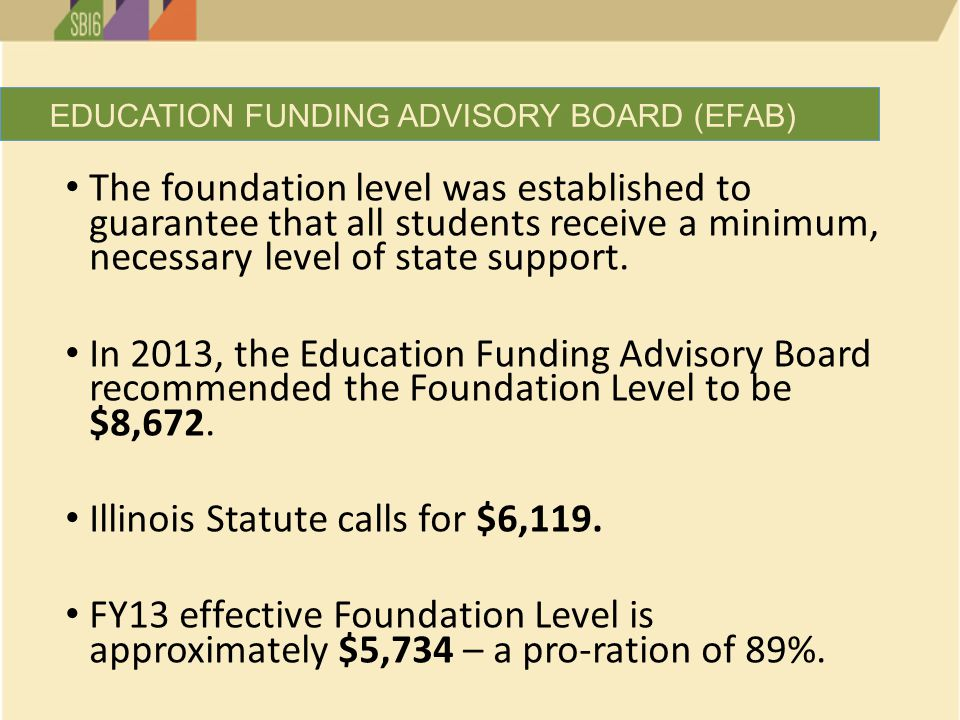 The foundation level was established to guarantee that all students receive a minimum, necessary level of state support.