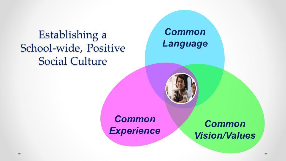 Establishing a School-wide, Positive Social Culture Common Vision/Values Common Language Common Experience