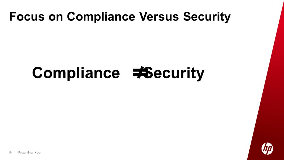 19 Footer Goes Here 19 Focus on Compliance Versus Security Compliance Security