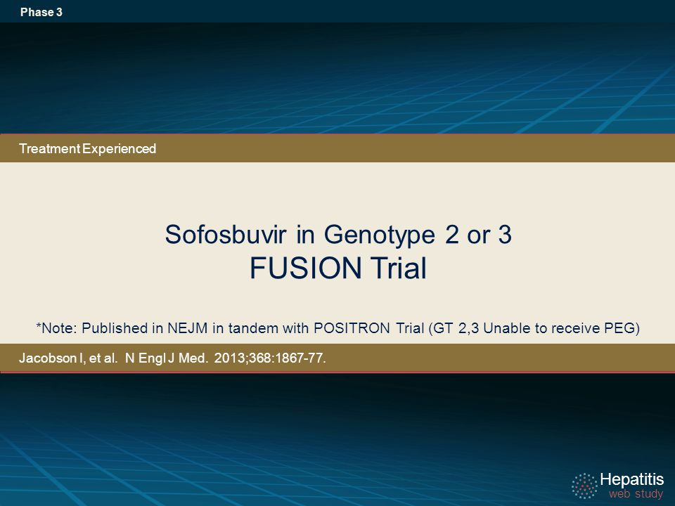Hepatitis web study Hepatitis web study Sofosbuvir in Genotype 2 or 3 FUSION Trial Phase 3 *Note: Published in NEJM in tandem with POSITRON Trial (GT 2,3 Unable to receive PEG) Treatment Experienced Jacobson I, et al.