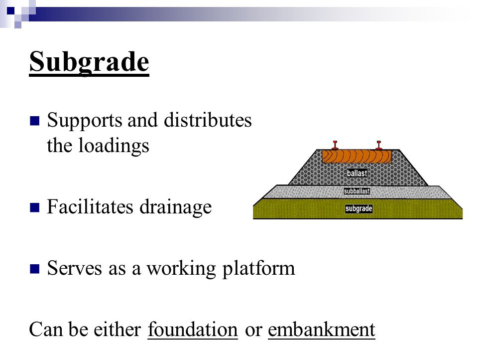 Subgrade Supports and distributes the loadings Facilitates drainage Serves as a working platform Can be either foundation or embankment