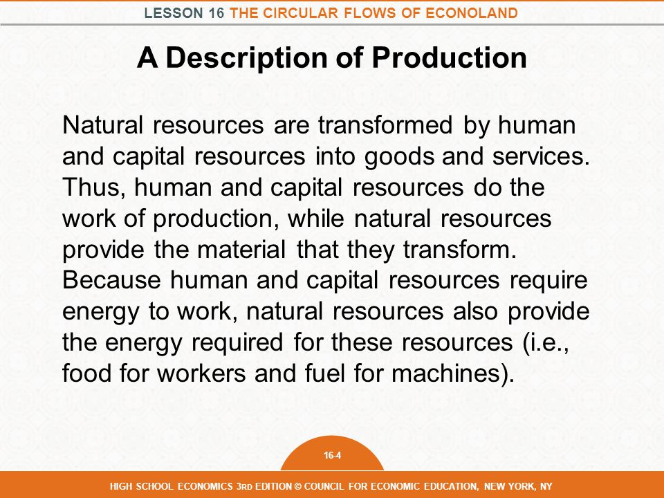 LESSON 16 THE CIRCULAR FLOWS OF ECONOLAND 16-4 HIGH SCHOOL ECONOMICS 3 RD EDITION © COUNCIL FOR ECONOMIC EDUCATION, NEW YORK, NY A Description of Production Natural resources are transformed by human and capital resources into goods and services.