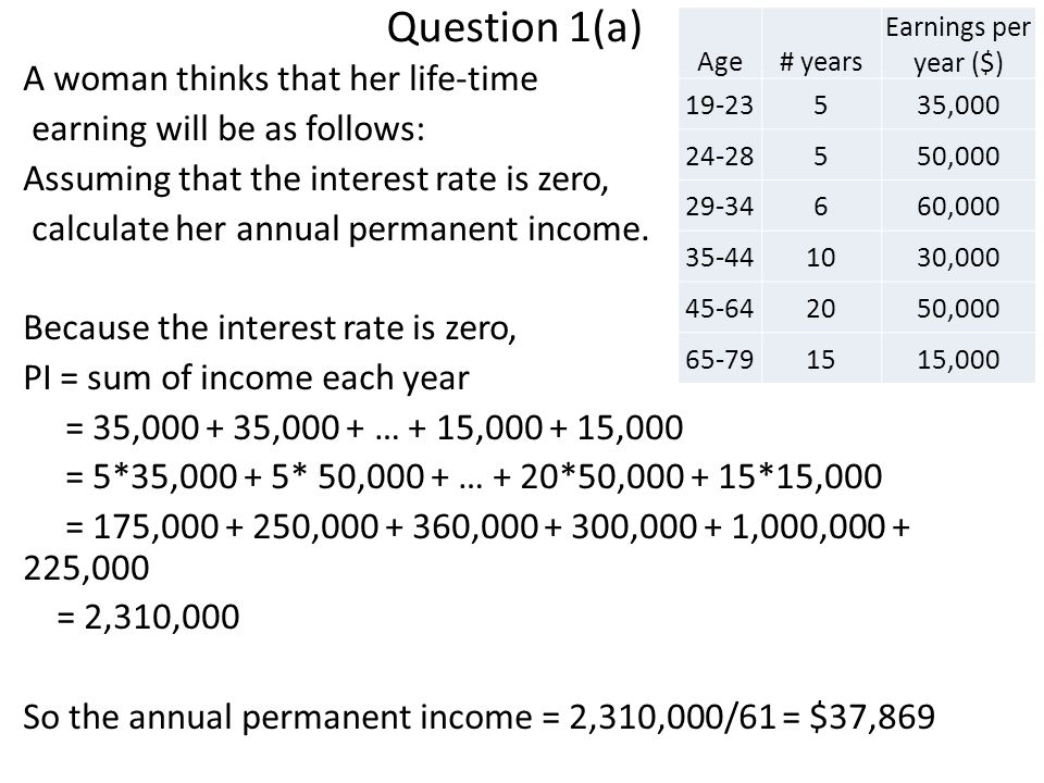 Question 1(a) A woman thinks that her life-time earning will be as follows: Assuming that the interest rate is zero, calculate her annual permanent income.