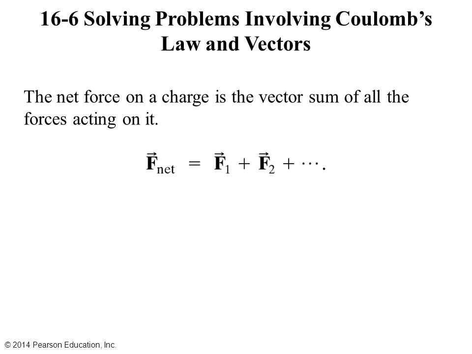 The net force on a charge is the vector sum of all the forces acting on it.
