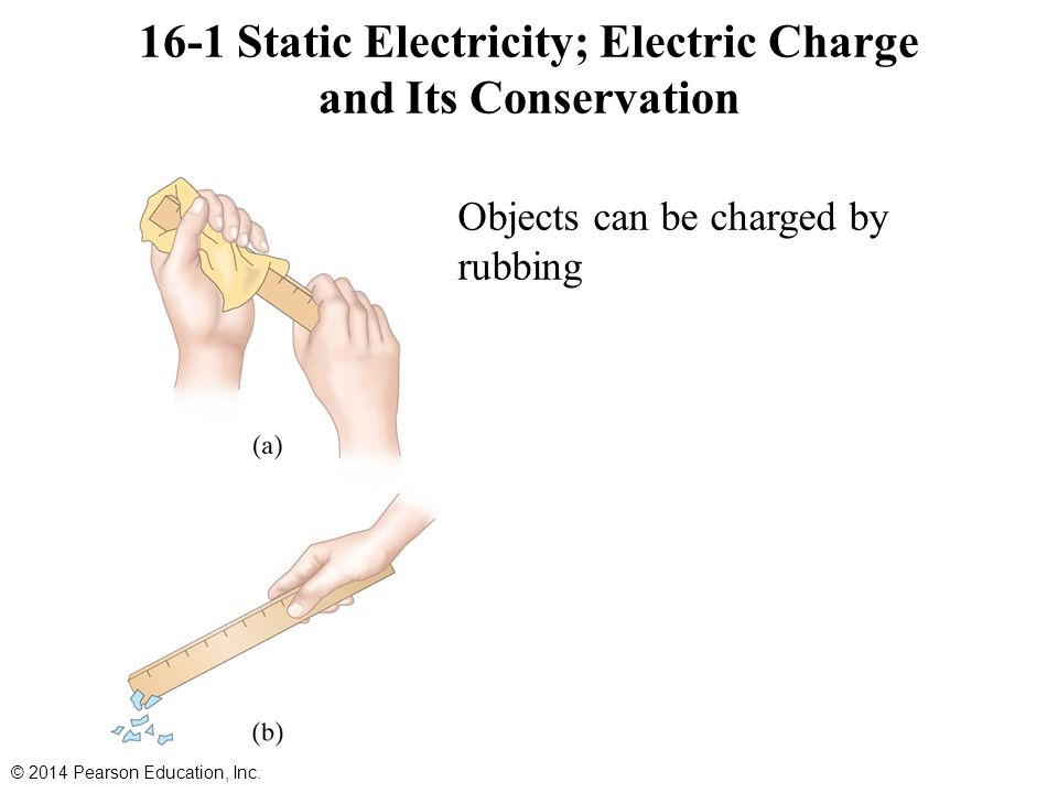 16-1 Static Electricity; Electric Charge and Its Conservation Objects can be charged by rubbing © 2014 Pearson Education, Inc.