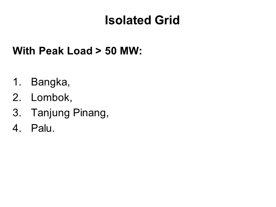 Isolated Grid With Peak Load > 50 MW: 1.Bangka, 2.Lombok, 3.Tanjung Pinang, 4.Palu.
