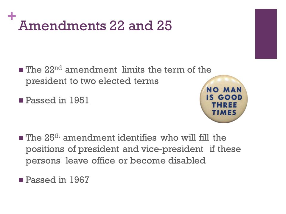 + Amendments related to government offices The 20 th, 22 nd, 25 th, and 27 th amendments