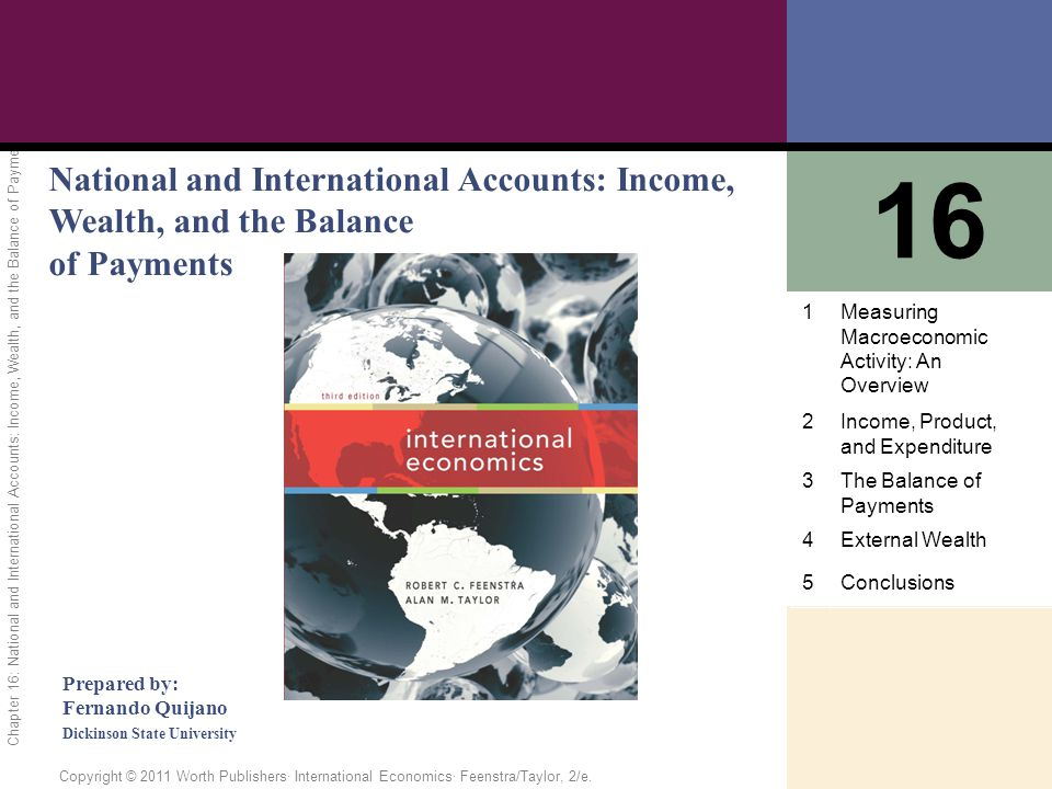 1 of 81 Copyright © 2011 Worth Publishers· International Economics· Feenstra/Taylor, 2/e. Chapter 16: National and International Accounts: Income, Wea