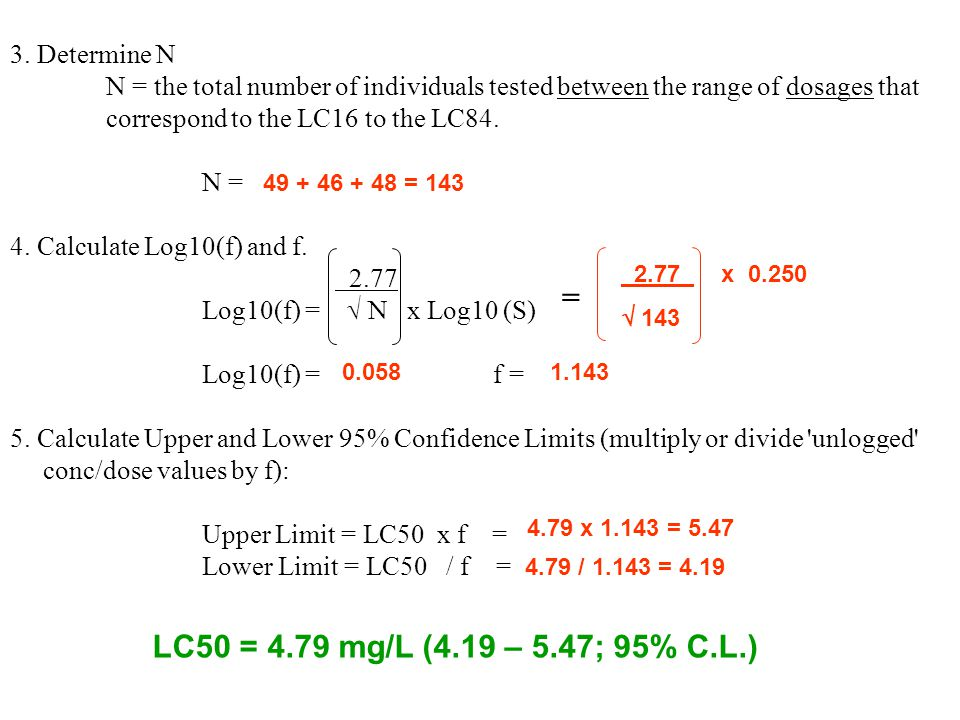 3. Determine N N = the total number of individuals tested between the range of dosages that correspond to the LC16 to the LC84. N = 4. Calculate Log10