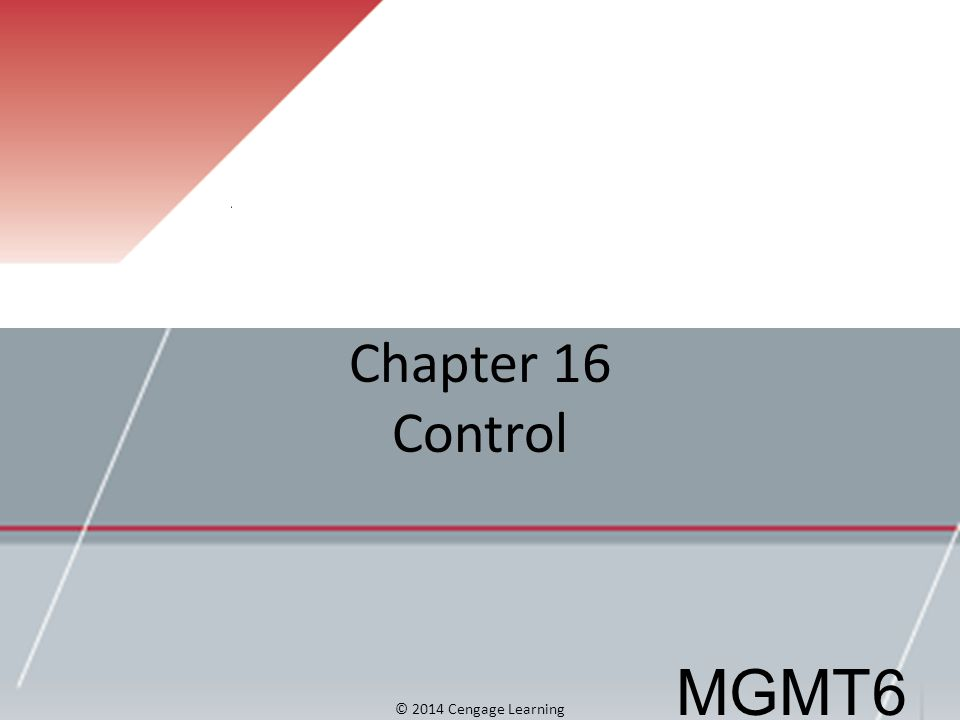 Chapter 16 Control © 2014 Cengage Learning MGMT6