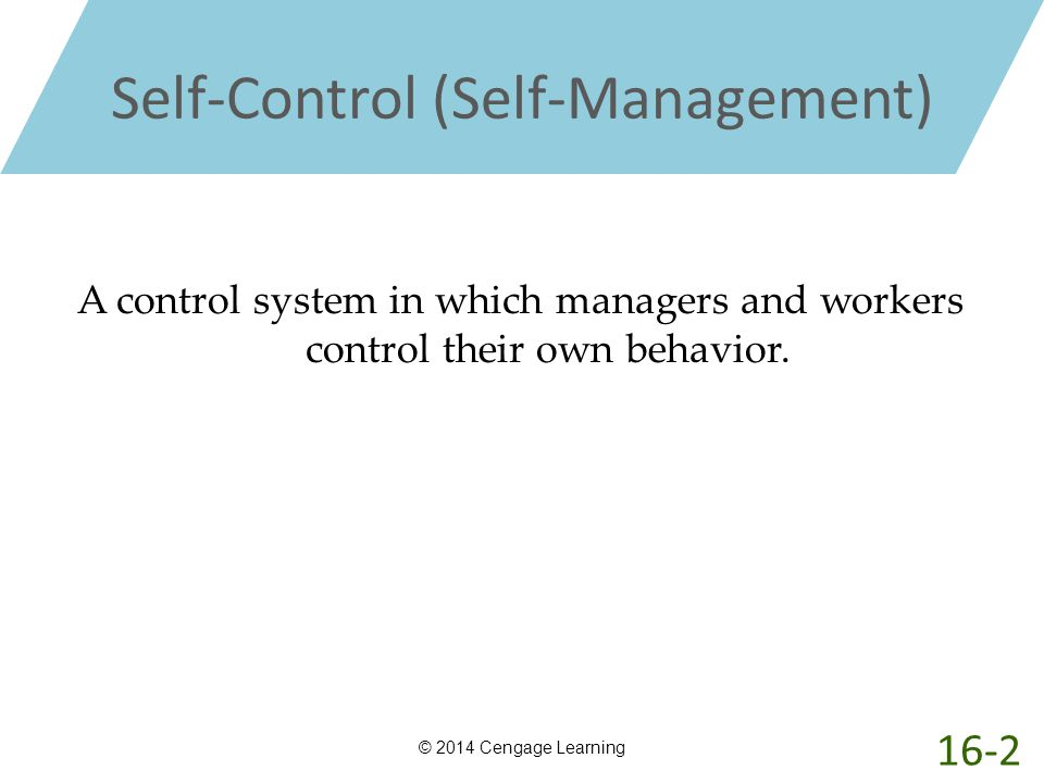 Self-Control (Self-Management) © 2014 Cengage Learning A control system in which managers and workers control their own behavior. 16-2