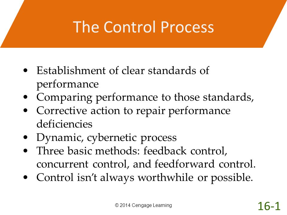 The Control Process © 2014 Cengage Learning Establishment of clear standards of performance Comparing performance to those standards, Corrective actio