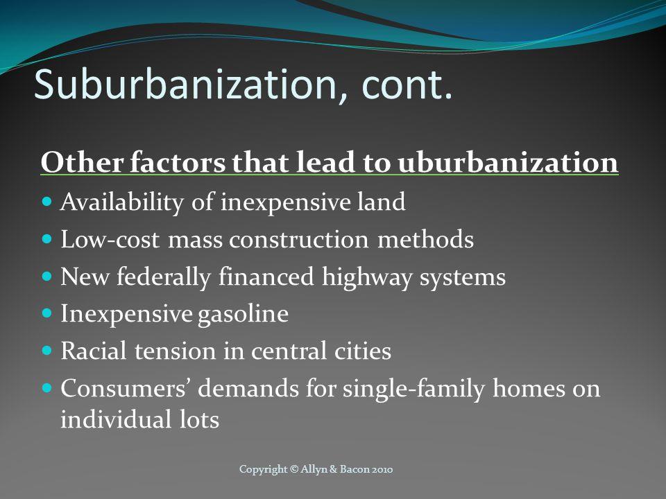 Suburbanization, cont.