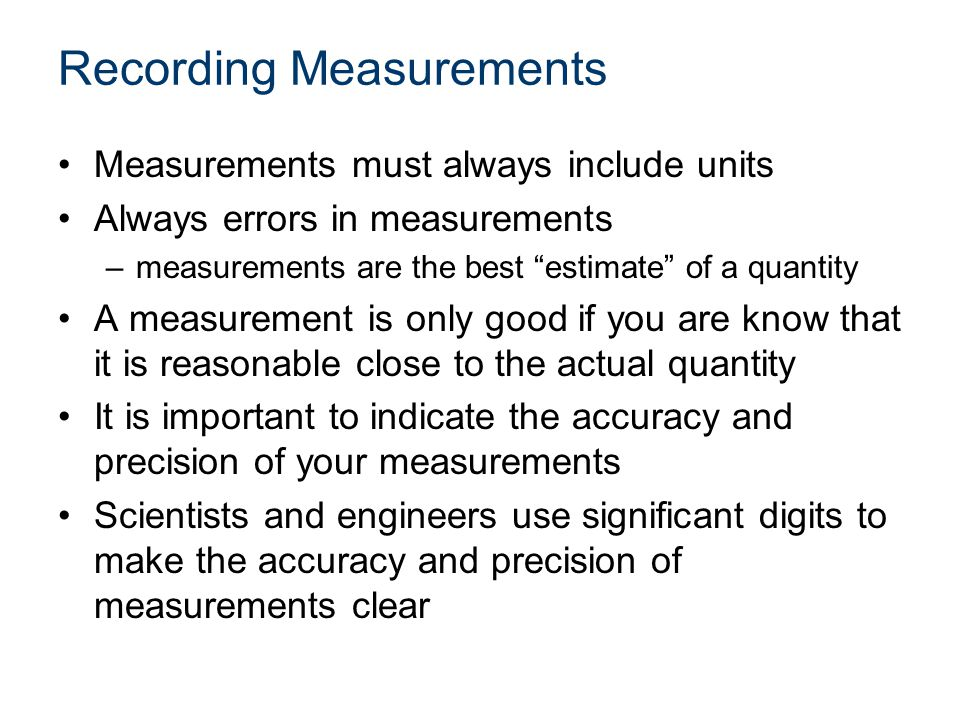 Precision and Accuracy Precision (repeatability) = the degree to which repeated measurements show the same result Accuracy = the degree of closeness of measurements of a quantity to the actual (or accepted) value High Accuracy Low Precision High Precision Low Accuracy High Accuracy High Precision