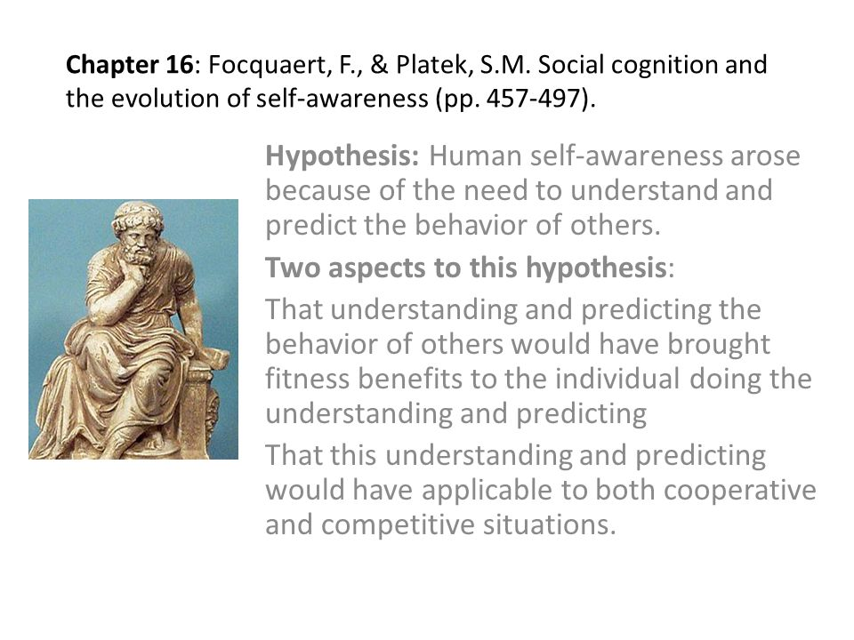 Chapter 16: Focquaert, F., & Platek, S.M. Social cognition and the evolution of self-awareness (pp.