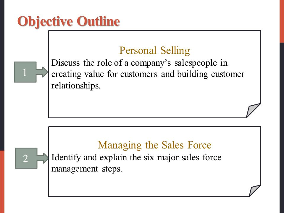 1 Personal Selling Discuss the role of a company's salespeople in creating value for customers and building customer relationships.