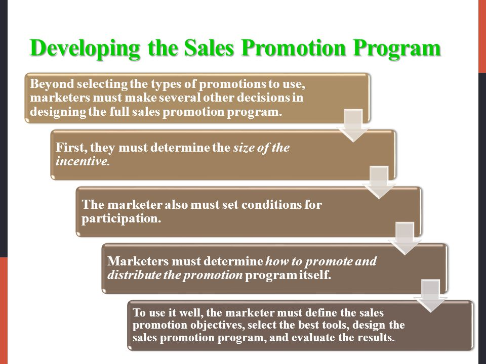 Developing the Sales Promotion Program Beyond selecting the types of promotions to use, marketers must make several other decisions in designing the full sales promotion program.