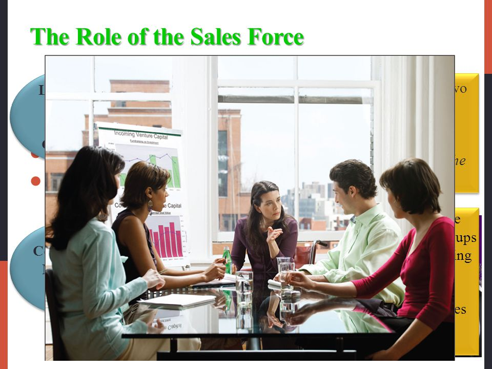 The Role of the Sales Force Salespeople can probe customers to learn more about their problems and then adjust the marketing offer and presentation to fit each customer's special needs.
